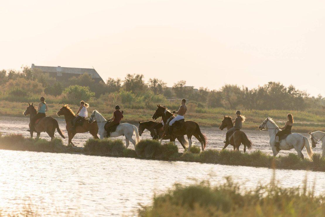 フランス各地の風景写真-カマルグ地方自然公園で夕陽をバックに撮影した乗馬を楽しむ一行