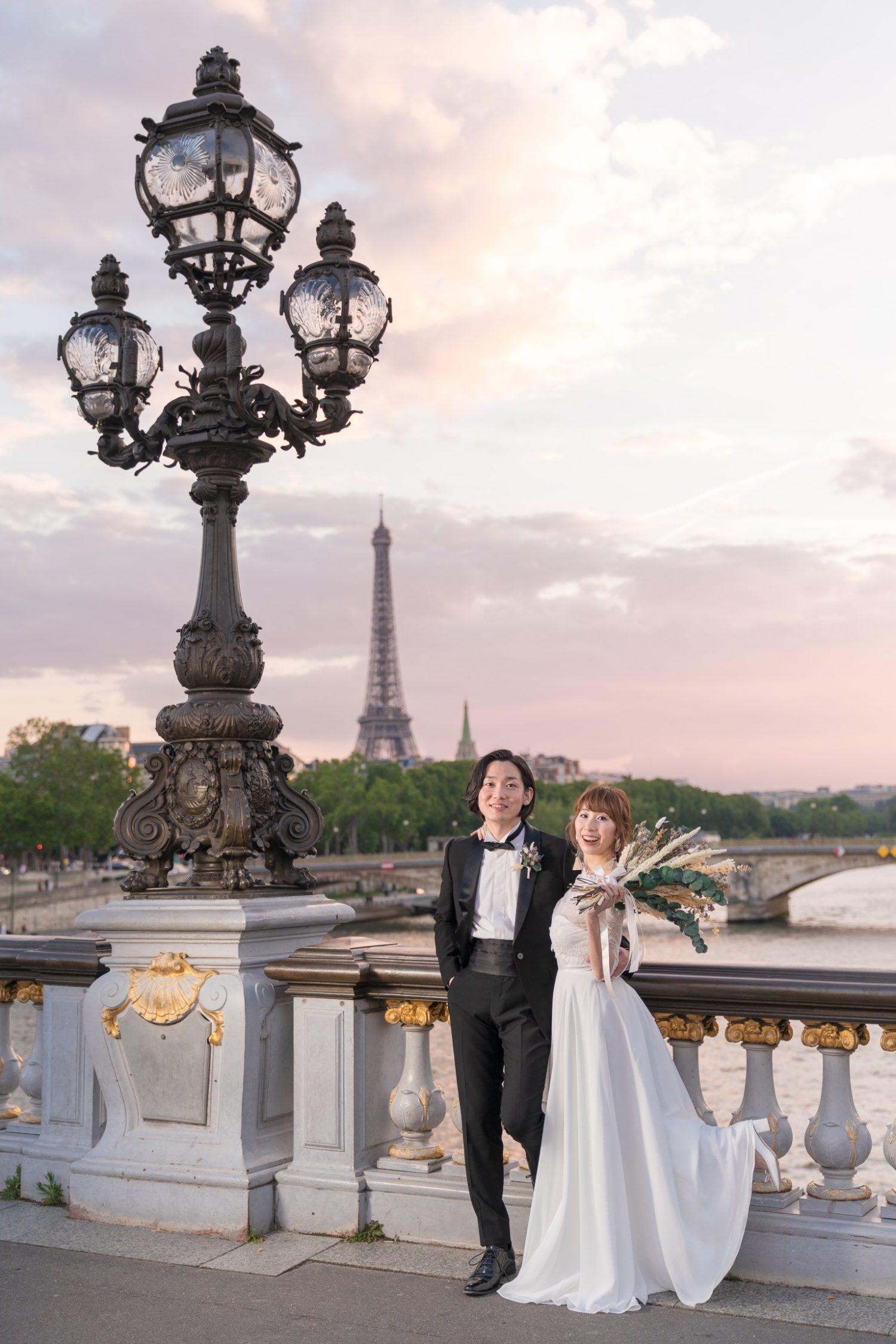 パリでナイトウェディングフォト④