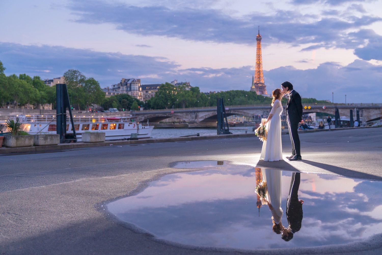 パリでナイトウェディングフォト②