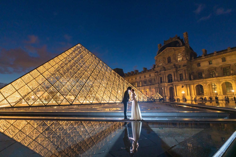 パリでナイトウェディングフォト①
