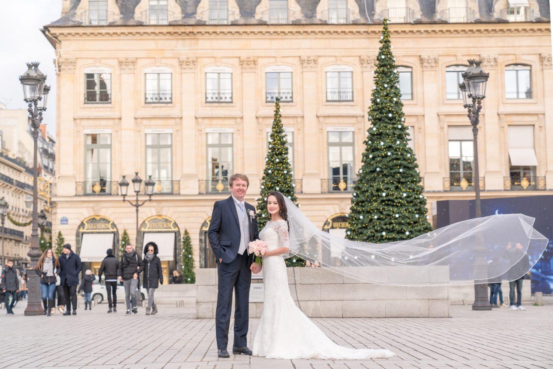 【ヴァンドーム広場でウェディングフォト】 – パリ王室広場