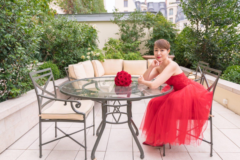 オテル・リッツ・パリのスイートルーム屋上で花嫁ウェディングポートレート