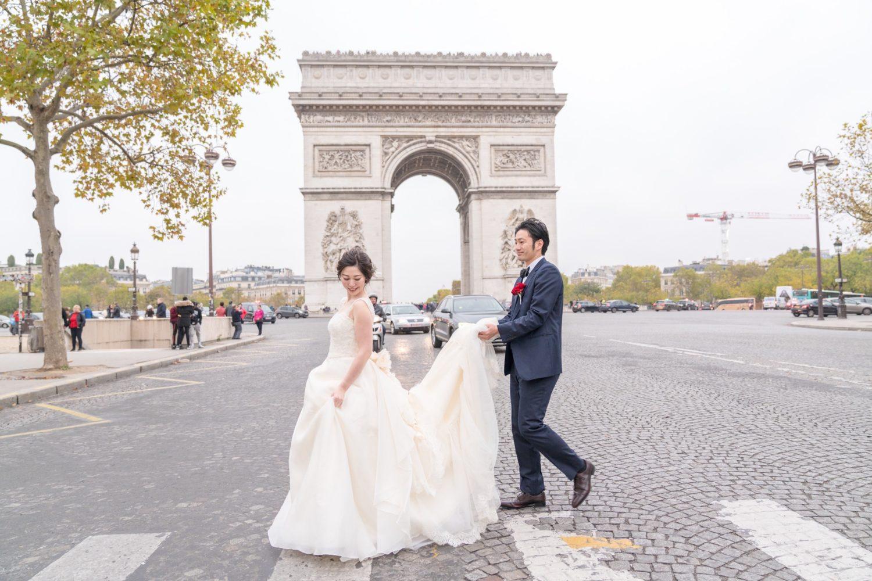 【凱旋門でウェディングフォト】 – もう一つのパリのシンボル②